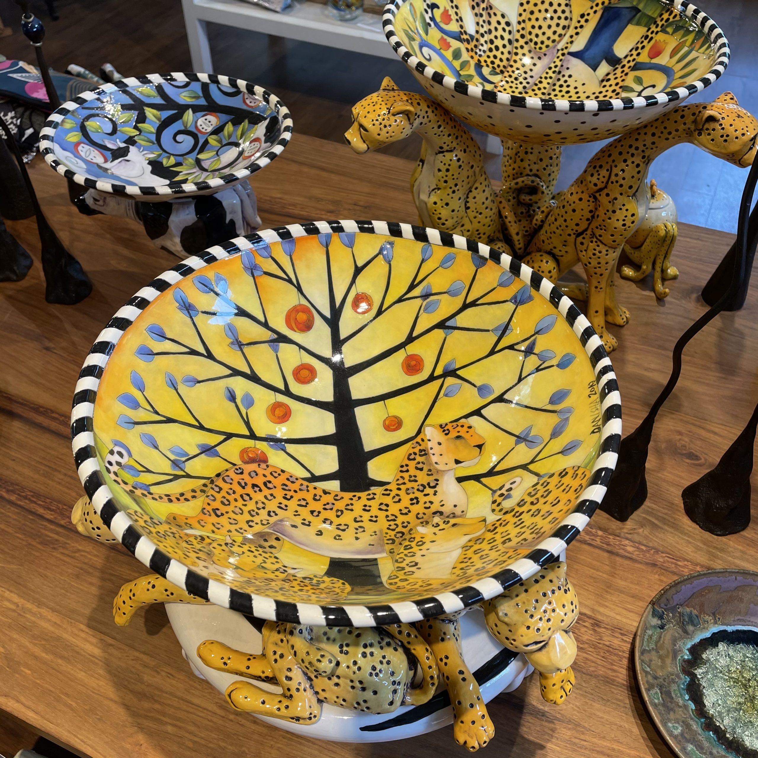 DaNisha ceramic cheetah bowl illinois