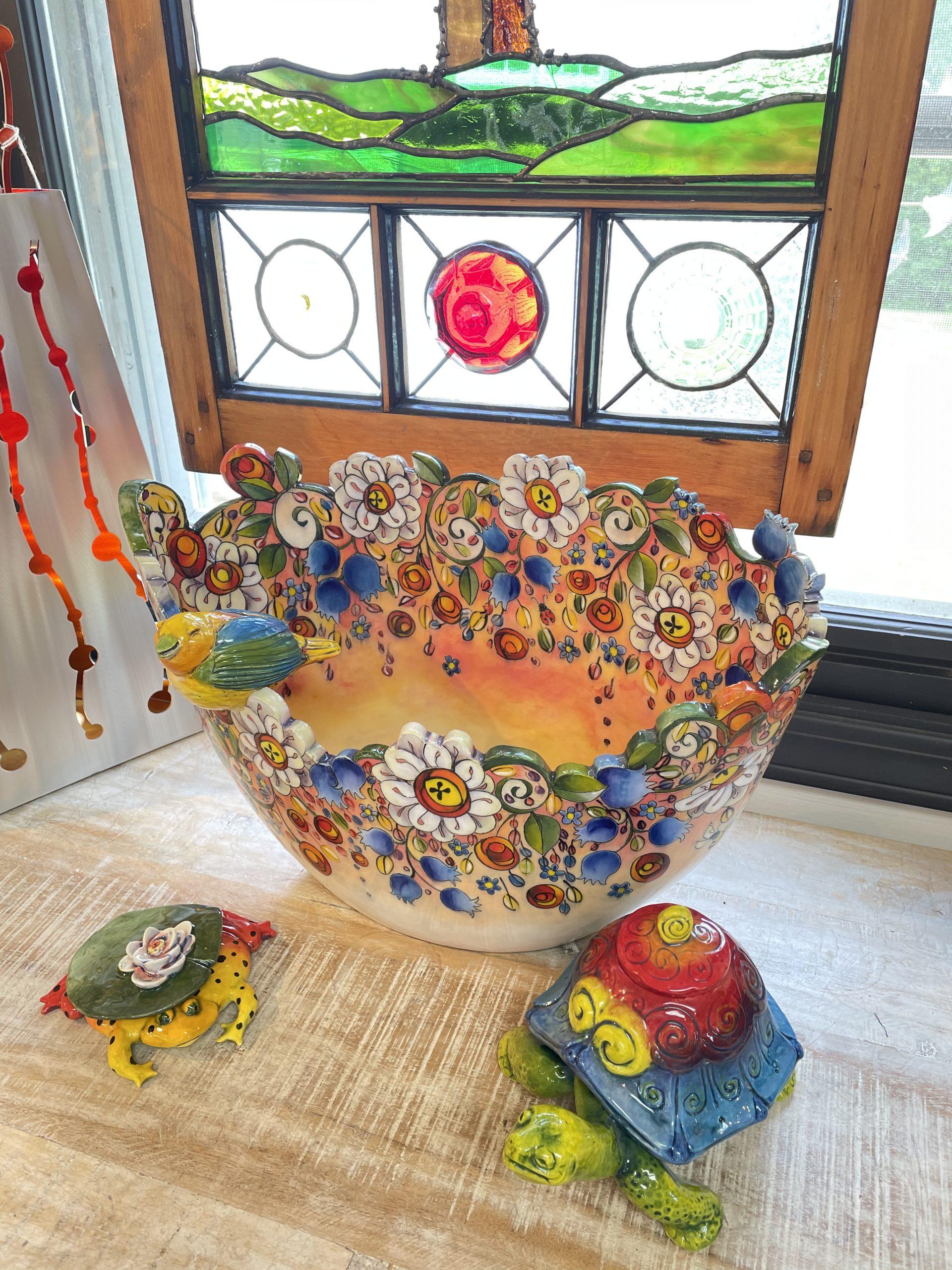 DaNisha ceramic floral bowl illinois